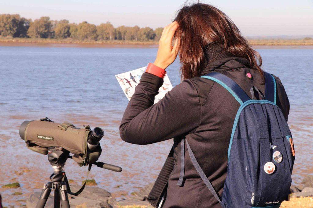 Mujer buscando ave en una guía