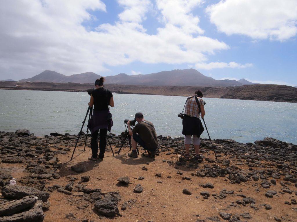 Foto de grupo en un viaje ornitológico por libre a Lanzarote