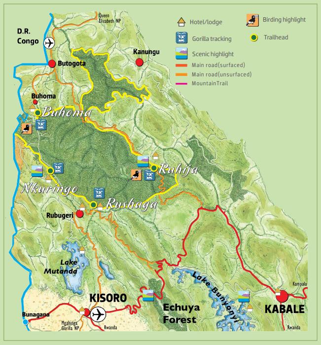 Mapa del Parque Nacional del Bosque Impenetrable de Bwindi con las cuatro zonas donde se hacen los trekking para ver a los Gorilas de Montaña